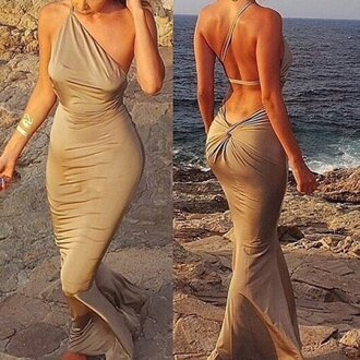 dress solid color backless mermaid sexy one-shoulder women's maxi dress