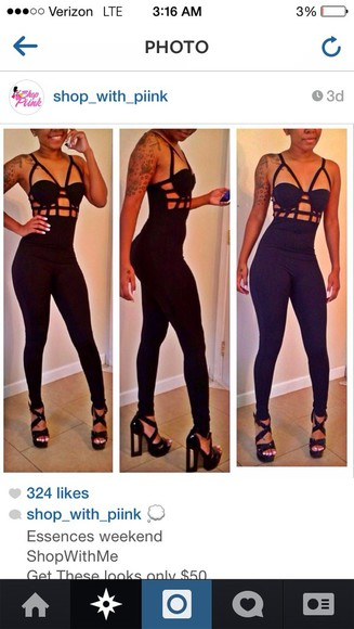 nicki minaj jumpsuit jumper bodysuit catsuit black blac chyna erica mena shoes