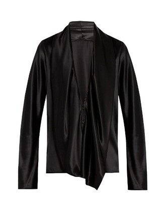 blouse draped silk satin black top