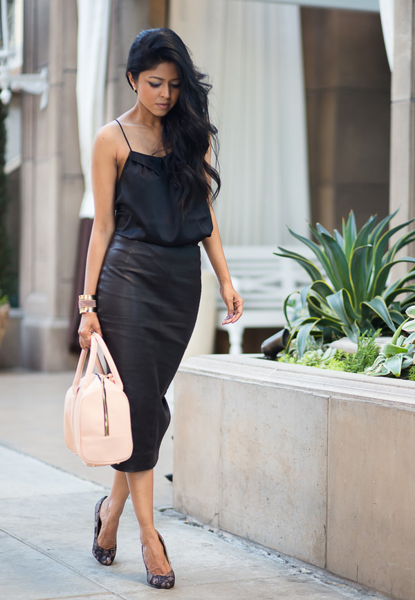 HIGH WAIST (MINUS THE) LEATHER MIDI PENCIL SKIRT from EXPRESS