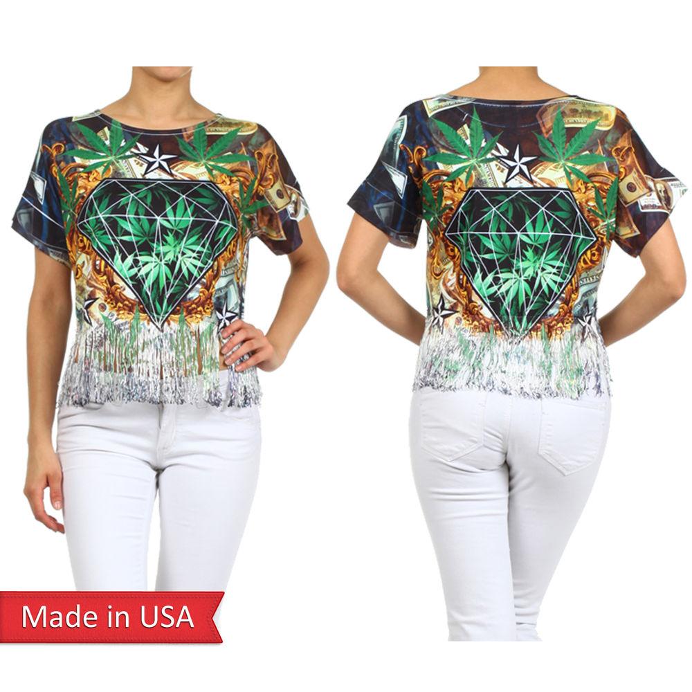 Women casual hemp weed cannabis star diamond print t shirt top w/ fringe hem usa