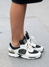 shoes,sneakers,trainers,sportswear,footwear,dc,streetstyle,streetwear,tongue,black,white,chanel,chanel sneakers,low sneakers,fashion,designer,running shoes,statement,beautiful,sports luxe,low top sneakers,hair accessory,chanel shoes,chanel trainers,baskets,sports shoes,cool,cc sneakers,blanche or noir,shirt,modern,gold