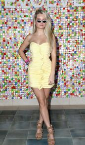 dress,strapless,mini dress,bodycon dress,yellow dress,yellow,summer dress,sandals,coachella,festival,music festival,lottie moss