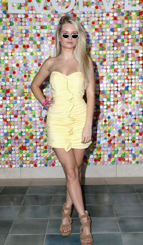 dress strapless mini dress bodycon dress yellow dress yellow summer dress sandals coachella festival music festival lottie moss