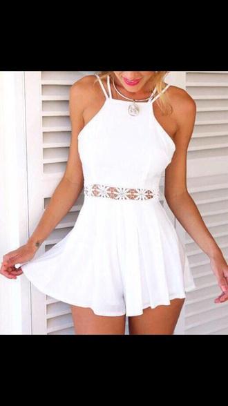 dress white dress summer dress flowers holtertop