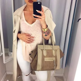 bag brown dress white celine bag coat blouse pants ripped jeans jeans beige brown nude