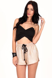 top,metallic,strapless top,crop tops,bustier crop top,asymmetrical,asymmetrical top,black,foxx foe,metallic shorts,shorts