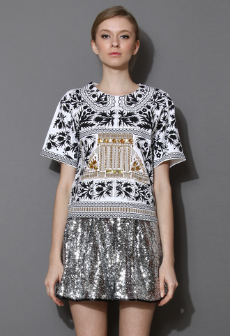 t-shirt gold chain jewel embellished top