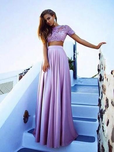 A-Line/Princess Bateau Short Sleeves Satin Floor-Length Lace Two Piece Dresses - Graduation Dresses - MissyDress