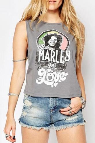 top beautiful halo grey bob marley rock hipster crop tops tank top girly fashion