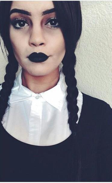 Blouse: wednesday adams, halloween, halloween makeup, dark, grunge ...