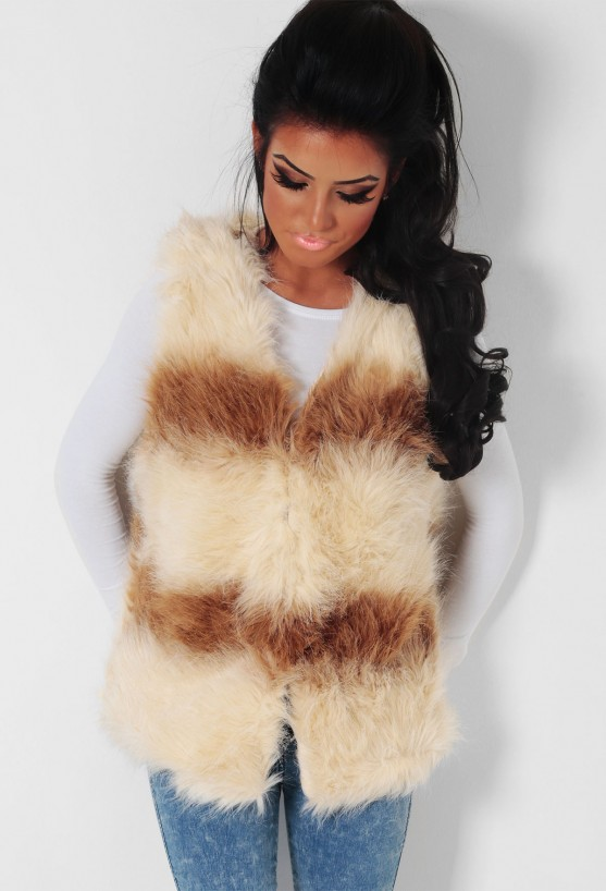 Celeste brown and cream faux fur gilet