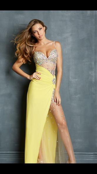 dress yellow dress prom dress
