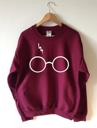 sweater harry potter burgundy sweater