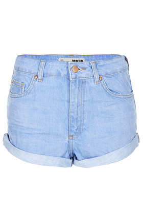 MOTO Blue High Waisted Hotpants - Topshop
