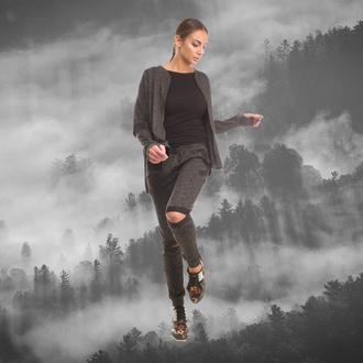 jumpsuit suit cotton workout workouts women fog gray suit grey