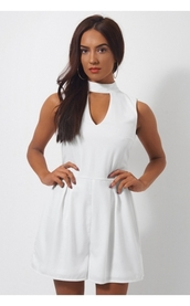 romper,white romper,choker playsuit,sexy white playsuit,lace romper