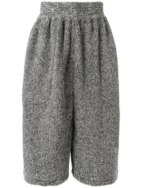 culottes fur faux fur women grey pants