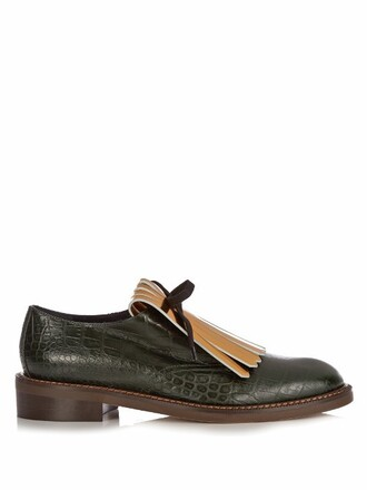 bow loafers leather gold green shoes