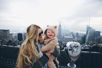 barefoot blonde blogger scarf blonde hair kids fashion winter coat lifestyle love