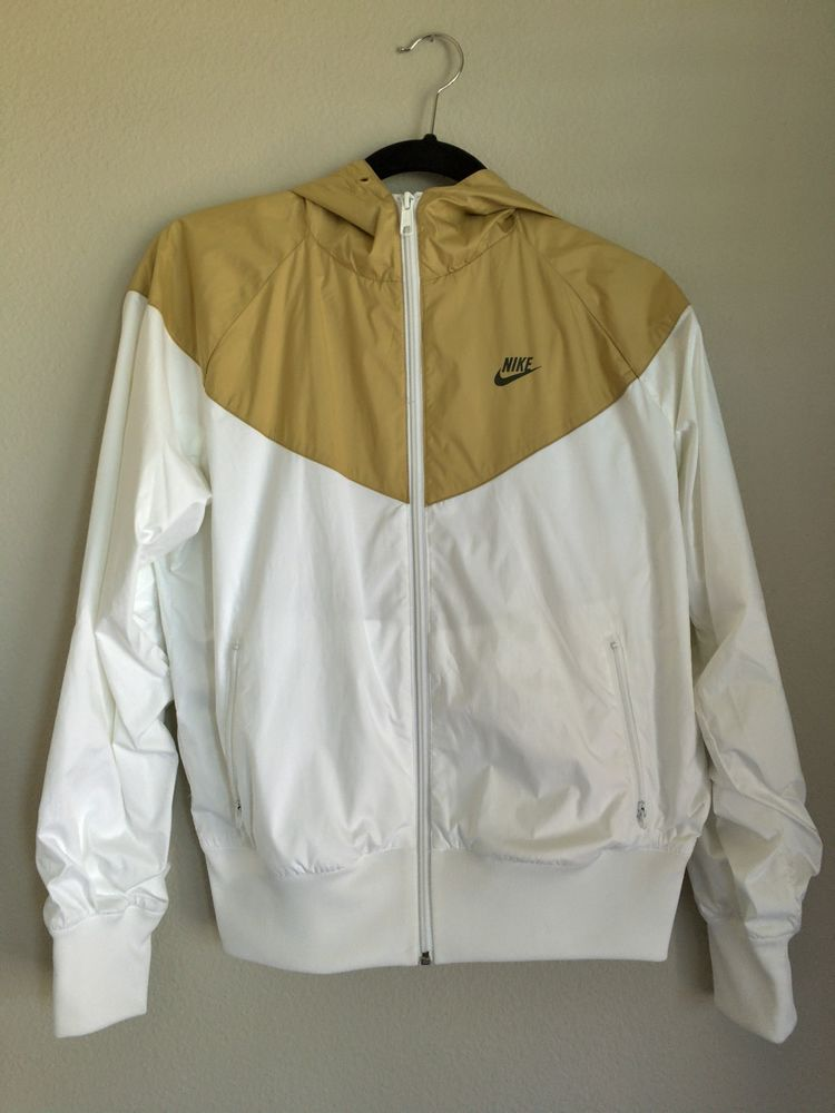 a3acd668c764 nike windrunner womens jacket hoodie rare white gold size m