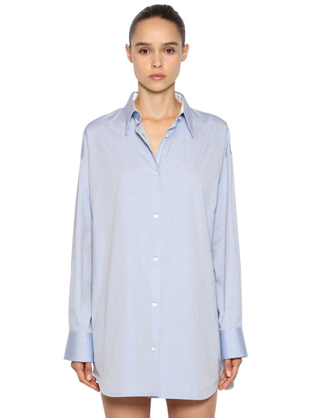 CALVIN KLEIN 205W39NYC Oversized Cotton Oxford Shirt in blue