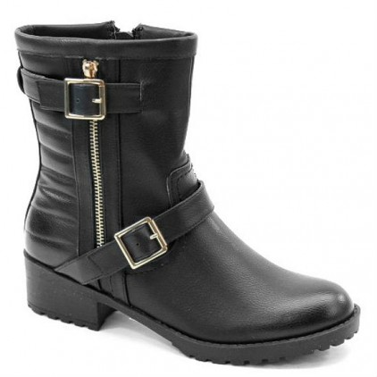 Bolaro Black Quilted Combat Ankle Boots