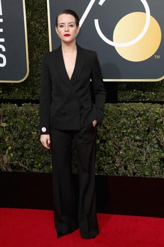 pants claire foy blazer golden globes 2018 wide-leg pants suit black