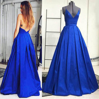 dress blue elegant prom fashion gown open back low cut vanessawu