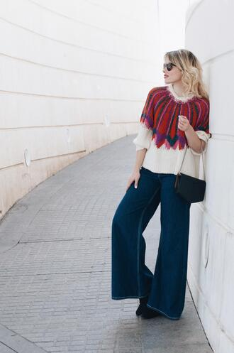 macarenagea blogger sweater jeans bag shoes sunglasses wide-leg pants spring outfits wide leg jeans