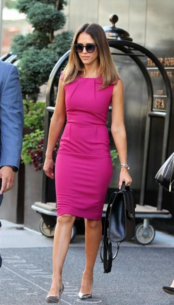 dress pink jessica alba