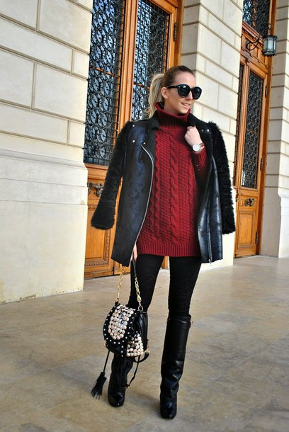 let's talk about fashion ! blogger black jacket turtleneck cable knit black boots coat sweater jeans shoes red cable knit sweater red sweater leggings black leggings sunglasses black sunglasses boots