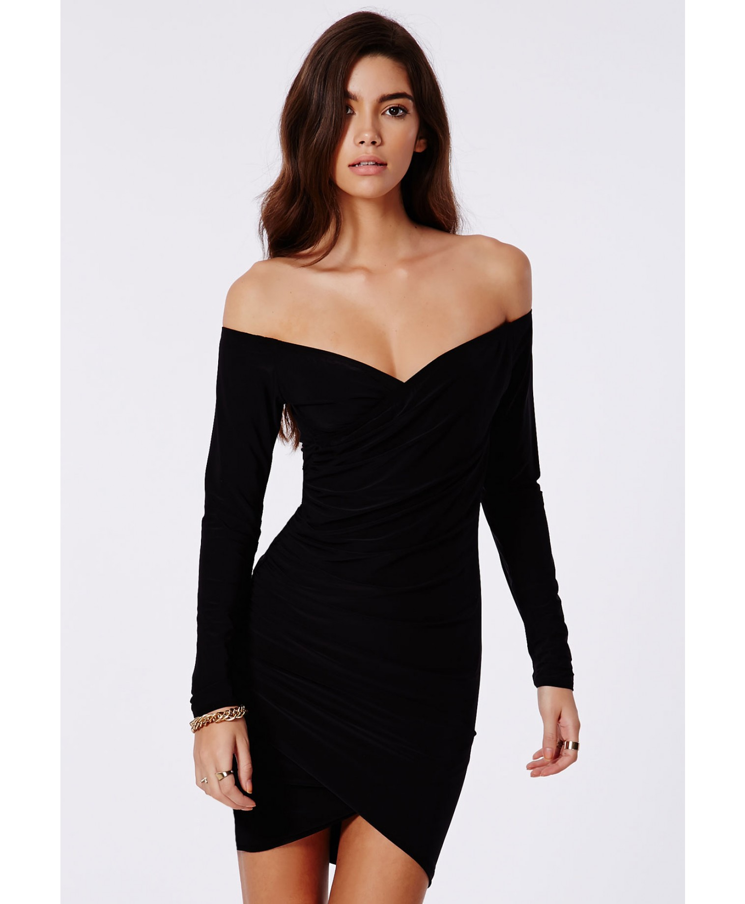 403270cb664a Missguided - Lizzy Slinky Bardot Wrap Bodycon Dress In Black