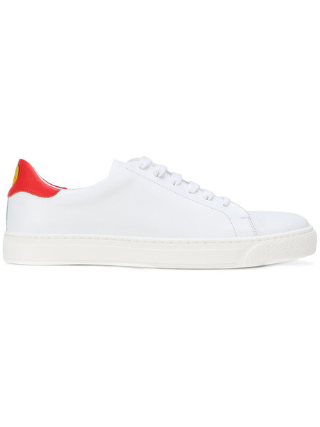 women smiley sneakers leather white shoes