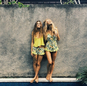 shorts,yellow,green,dress,tropical,floral,flowers,summer,fashion,romper,flowered shorts,floral dress,yellow dress,yellow top,brunette,blonde hair,tumblr,summer dress,summer outfits,frilly,leaves,jumpsuit,lemon,lemon print,lemons,print,girly,gren,fruits,ruffle