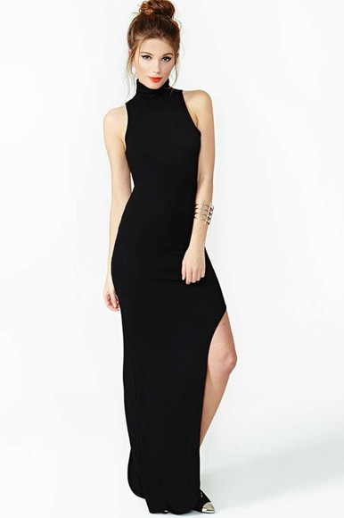 nastygal dress side split maxidress