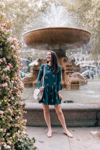thecollegeprepster blogger dress bag jewels fall outfits shoulder bag mini dress ballet flats