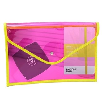 pink yellow bag coco chanel chanel make-up plastic book tumblr pretty pouch holiday gift