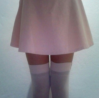 skirt a-line skirt a-line pink skirt baby pink pale pastell pastel pink pale grunge over the knee socks knee high socks white socks white knee high socks mesh see though tumblr outfit tumblr skirt tumblr girl