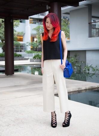 divainme blogger top pants shoes bag blue bag dior bag black top high heel sandals white pants