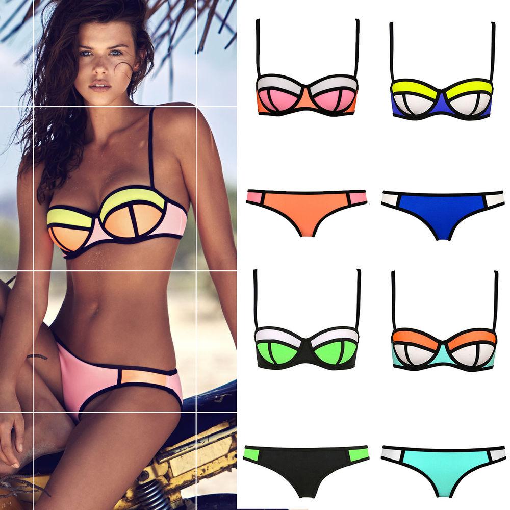 Up bikini set padded bra triangle swimsuit swimwear