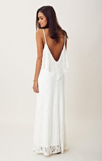 dress long dress long white dress white dress lace dress white lace dress boho chic bohemian hippie gypsy