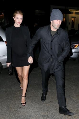dress mini dress black dress rosie huntington-whiteley maternity sandals