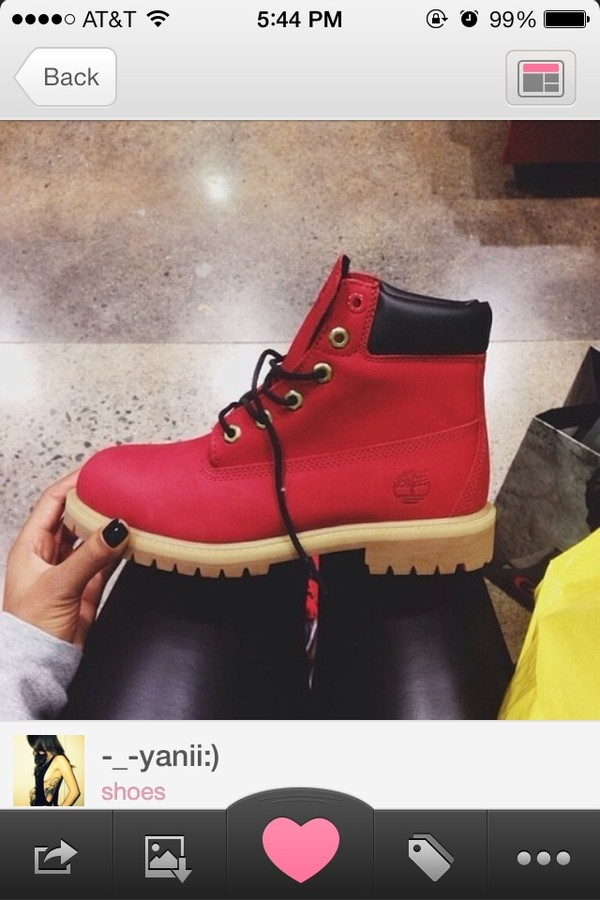 shoes red boots timberlands red timberlands boys size 6.
