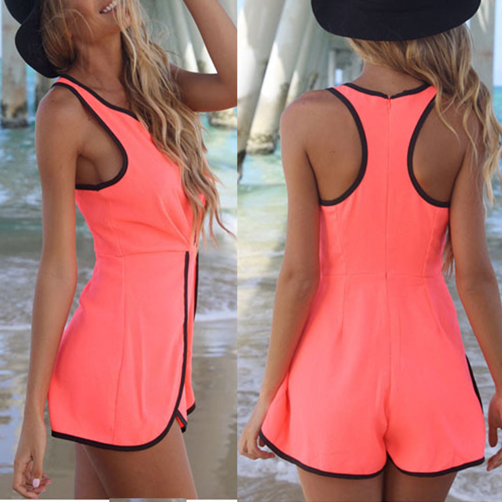 New Women's Sexy Hollow Jumpsuit Sleeveless Shorts Cut Out Playsuit Rompers Pant