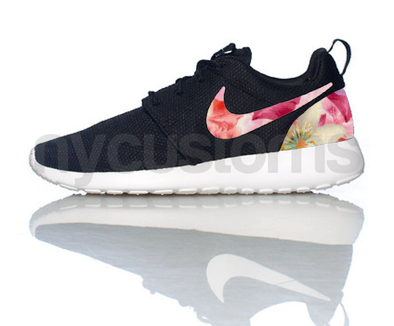 Nike Roshe Run Black White Floral Petal Print Custom Womens