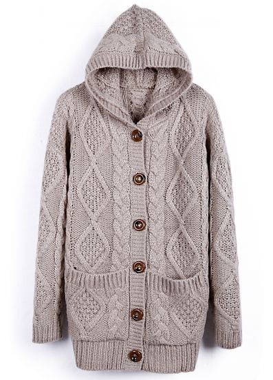 Hooded Long Sleeve Cardigan Sweater Coat Hoodie Woolen Sweatshirt ...