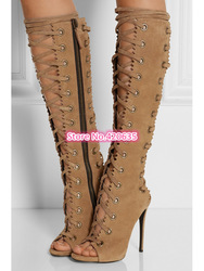 Online shop 2015 spring autumn new elegant fashion shoes women brown high heel boots gladiator lace up thigh high boots open toe