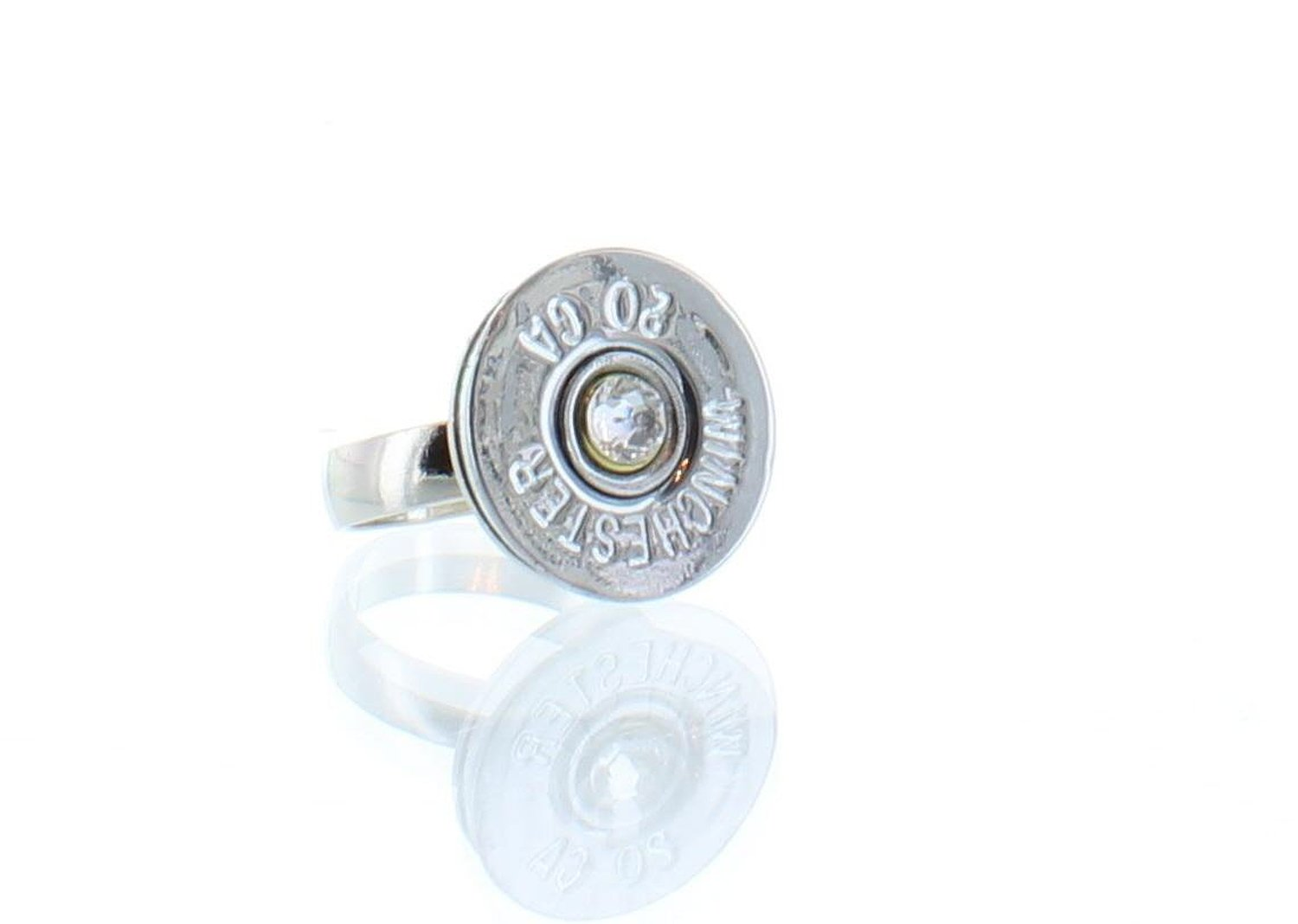 Amazon.com: womens or girls adjustable 20 gauge silver winchester ring with a clear crystal. made from recycled fired ammunition.: jewelry