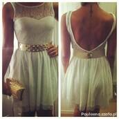 dress,lace dress,tank top,white dress,white,prom dress,summer dress,summer,gold,belt